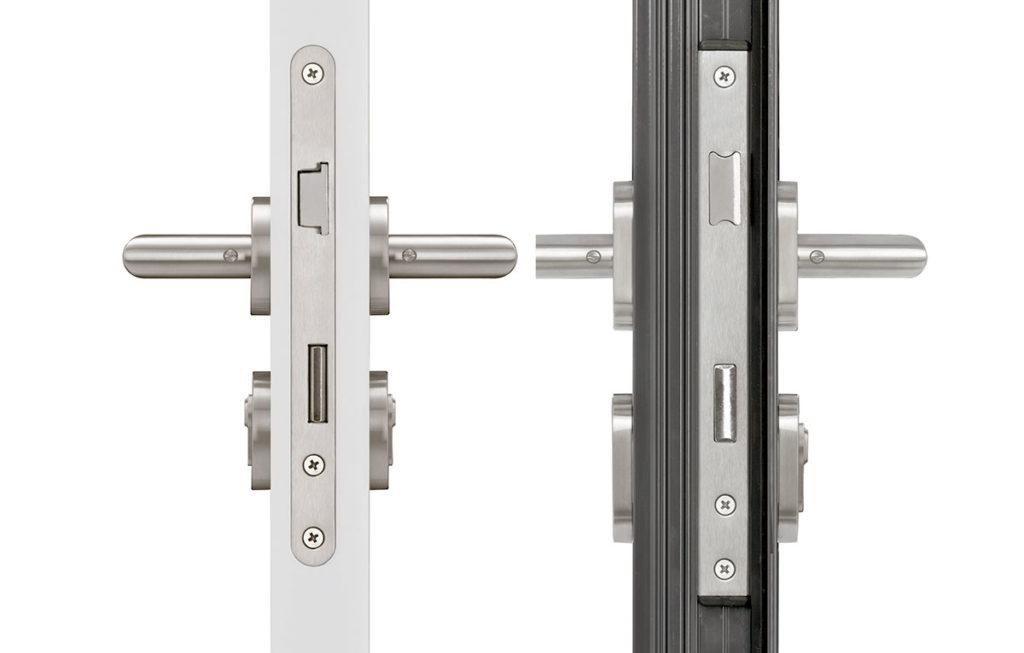 Perfil de puerta con cerradura empotrada
